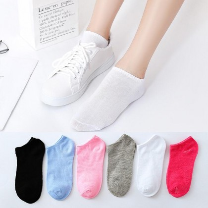 Men Women Ankle Socks【5 Pairs Perpack】Plain Design Unisex Super Soft Comfortable Cotton Invisible Ankle Invisible Socks Ready Stock 011253