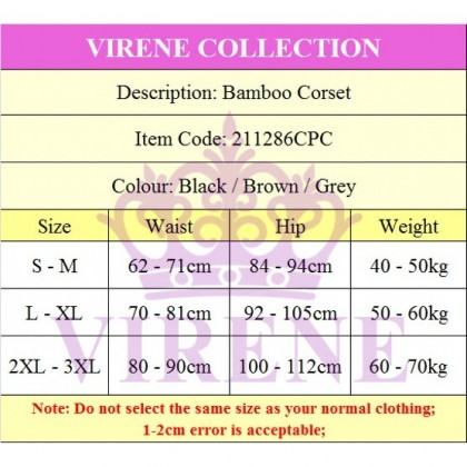 Ready Stock PREMIUM Bamboo Charcoal Slimming Suit Corset / Body Shapewear 211286