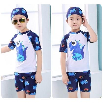 Ready Stock Korean Fashion 3 Pcs Sets Boys Swimwear Kids Swimsuit (FREE Swim Cap) 530120