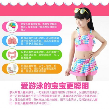 Ready Stock 2pcs Sets Kids Swimsuit Children's Swimwear Girls Bikini Beachwear 420484