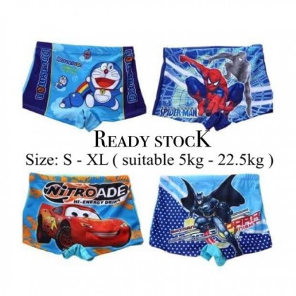 READY STOCK  Kids Swimming Pants Boy's Swim Trunk Spiderman Design 100288