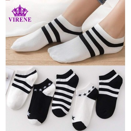Men's Ankle Socks【5 Pairs Perpack】Black & White Design Unisex Invisible Soft Cotton Sock Women Kids Ready Stock 011283