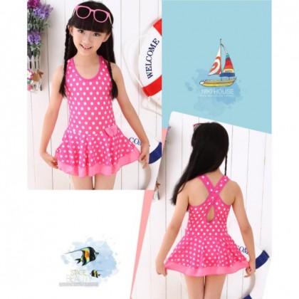Ready Stock Korean Fashion Kids Swimsuit Girls Swimming Dress Beachwear 421380