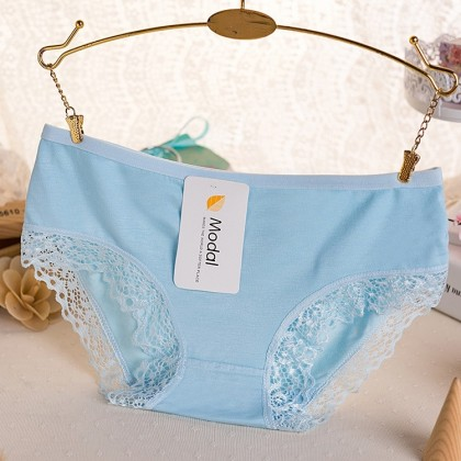 Free Size Candy Colour Panties 100% Modal Cotton Stretchable Comfortable Panties Soft Charcoal Bamboo Fiber Ready Stock 021164