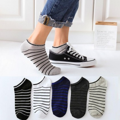 Men Ankle Socks【5 Pairs Perpack】Horizontal Soft Comfortable Cotton Ankle Invisible Socks Women Unisex Socks Ready Stock 011183