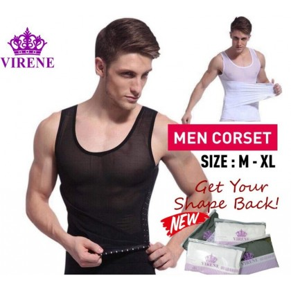 VIRENE【Ready Stock】Men's Slimming Tummy Waist Shaper Corset Male Body Shapewear Waist Trainer Belt Slim Girdle 433144