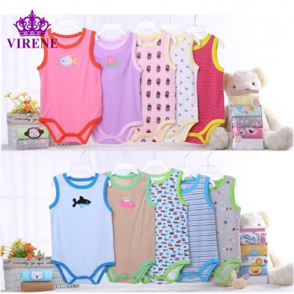 Baby Sleeveless Romper (5 Pcs Perpack) CARTER'S Baby Boys / Girls Sleeveless Carters Romper (Random Design) Ready Stock 431246