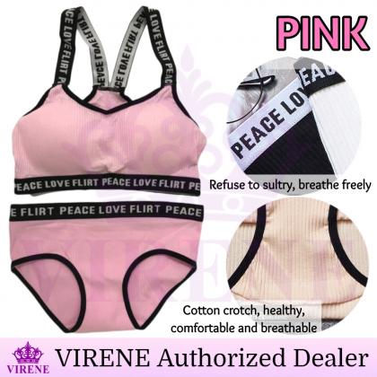 VIRENE【Sport Bra + Panties】Push Up Wireless Genie Bra Sets Cotton Yoga Bra Comfy Gym Bra Sets Ready Stock 411150