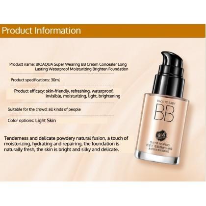 BIOAQUA BB Cream Foundation 30ml 【100% Original】Super Wearing Concealer Long Lasting Waterproof Moisturizing Brighten Foundation (Light Beige) Ready Stock 5637BA