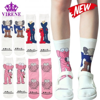 VIRENE KAWS Crew Socks Men Women Sock Lovely Cartoon Hipster Unisex Sock Cute Breathable Crew Sock Ready Stock 701152