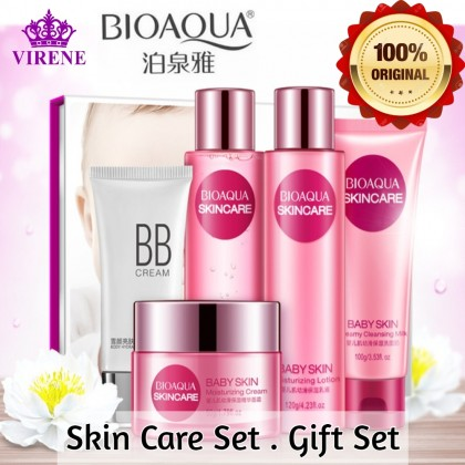 BIOAQUA Baby Skin Moisturizing Skincare Set Gift Set【100% Original】5 IN 1 Nourish Hydrate Improve Dry Skin Gentle Care Delicate Skin Care Set Ready Stock 4822BA