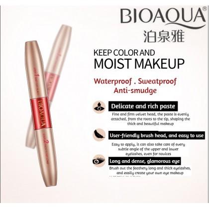 BIOAQUA 2 IN 1 Double Mascara【100% Original】Lengthening Curling Waterproof No Blooming Nourish Mascara Ready Stock 3252BA