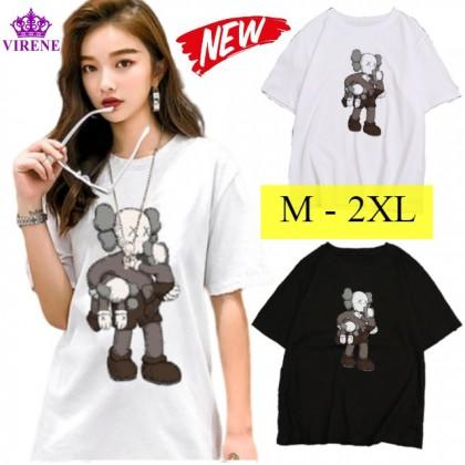 VIRENE KAWS T-Shirt Women Men Shirt Sesame Street Short Sleeve Man Women T-Shirt 【M - 2XL】Ready Stock 114416