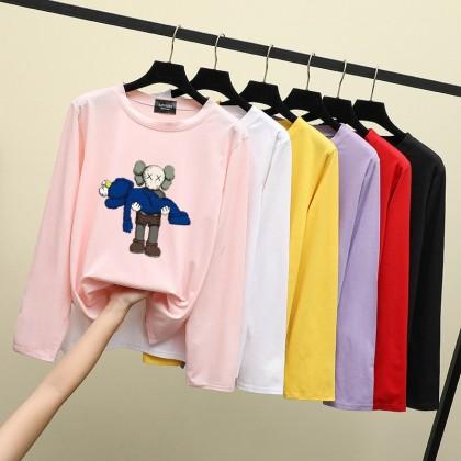 KAWS Long Sleeve T-shirt READY STOCK Korean Women Casual Loose Tops  Baju Lengan Panjang Pemborong Baju KAWS 211184