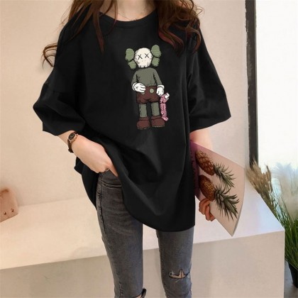 Plus Size KAWS T-Shirt READY STOCK Korean Women Casual Loose Tops Baju Corak Kaws Pemborong Baju KAWS 211664
