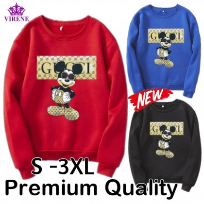 Mickey Sweater READY STOCK Plus Size Mickey Mouse Long Sleeve Sweater Pemborong Baju Disney 310052