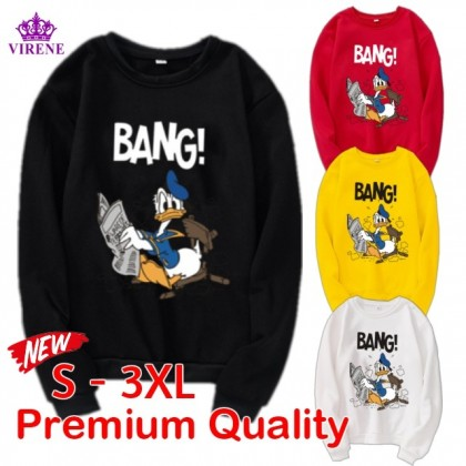 Donald Duck Sweater READY STOCK Plus size Long Sleeve Sweatshirts Hoodies Pemborong Baju Lengan Panjang 321172