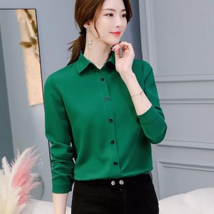 VIRENE OL Blouse Korean Fashion Women Long Sleeve Work Tops Office Lady Formal Shirts Ready Stock 439900