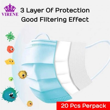 【Ready Stock】20 Pcs Face Masks 3 Layer Disposable Non Woven Mask Good Filtering Effect Virus Protection Penutup Muka 口罩 (No Box) 125FM
