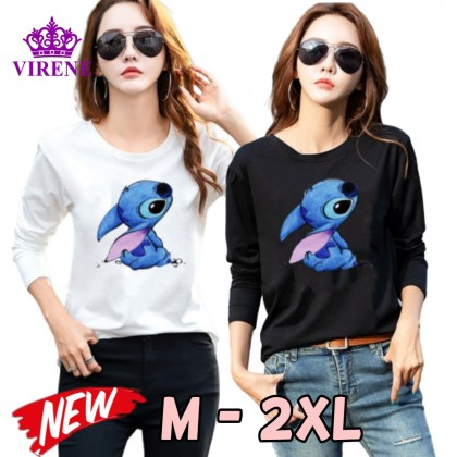 Korean Fashion Lilo Stitch Women Shirt Casual Long Sleeve Blouse Lovely Cute Top M - 2XL Ready Stock 211100