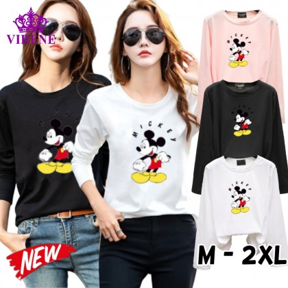 Mickey Mouse Women Shirt Casual Long Sleeve Blouse Lovely Cute Mickey Top M - 2XL Ready Stock 211186