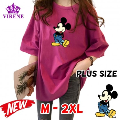 Mickey Mouse Women Plus Size T-Shirt Casual Short Sleeve Blouse Lovely Cute Mickey Top M - 2XL Ready Stock 211665