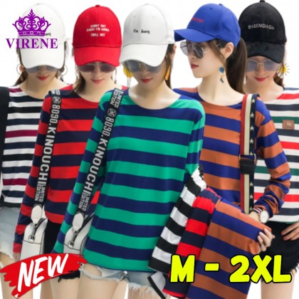 VIRENE Korean Fashion Striped Shirt Fashion Casual Tops Long Sleeve T-Shirt Special Mix Color Blouse Ready Stock 210024