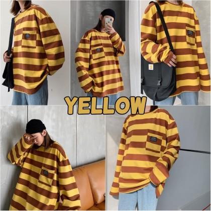 VIRENE Korean Fashion Plus Size Women Blouse Men Striped Shirt Casual Loose Tops Long Sleeve T-shirt Baju Lengan Panjang Pemborong Baju 210065