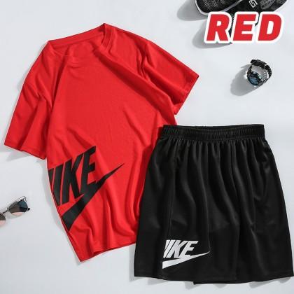 Men Sportswear T-Shirt + Short Pants Set Sports Shirt & Pants Set Men Fitness Clothing Baju Lelaki Ready Stock 320021