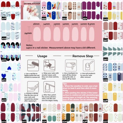 DIY Nails Sticker Girl Fingernails Sticker Cute Finger Nails Sticker Waterproof Non-Toxic Manicure Sticker Ready Stock 397-436