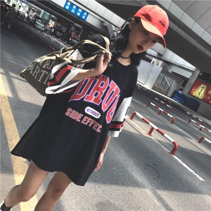 Korean Fashion Loose Basketball Shirt Jersey Mid-length Student Sports Half Sleeved Basketball Clothes T-Shirt 310090