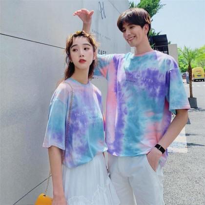 Couple Shirt Korean Fashion Sky Cloud Printing Shirt Short sleeve Shirt Round Neck Casual Style T-shirt Ready Stock 323300