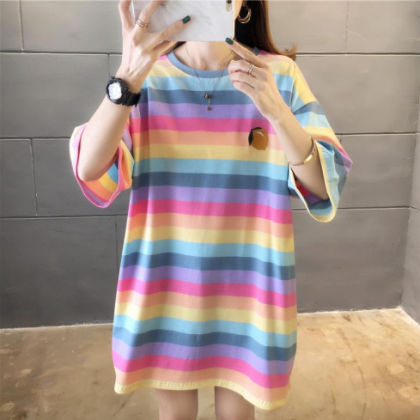 Korean Fashion Rainbow Short Sleeve T-Shirt Women Loose Large Size Blouse Baju Murah Clothes Casual Ready Stock 213363