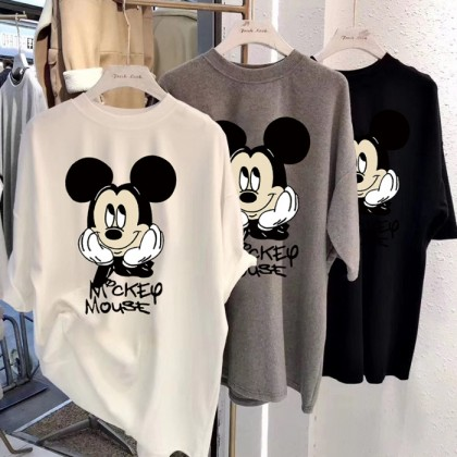 Women's Blouse Summer Mickey Short Sleeve Baju Murah T Shirt Korean Fashion Clothing Round Neck Students 213324