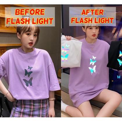 Korean Fashion Butterfly Shirt Women Top Flash Light Short Sleeve Night Light Reflective Blouse Student Ready Stock 213364