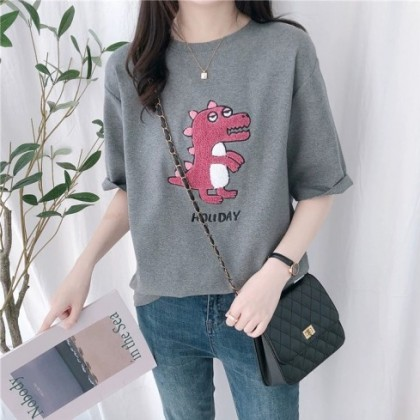 Korean Fashion Dinosaur Shirt Lady Blouse Loose Short Sleeve Baju T-Shirt Women Cartoon Top Casual Ready Stock 213367