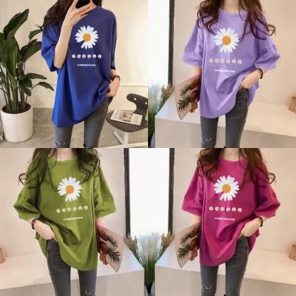 Korean Fashion Daisy Shirt Short Sleeve Women Top T-Shirt Murah Baju Round Neck Baju Lengan Pendek Student Ready Stock 213365