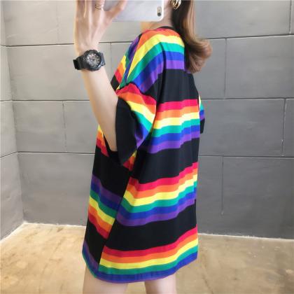 Korean Fashion Summer Women T-Shirt Rainbow Stripes Shirt Casual Top Woman Blouse Viral Baju Murah Ready Stock 213346
