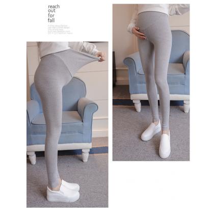 Elastic Maternity Legging Plain Pregnancy Long Pants Soft High Waist Adjustable Stomach Support Pants Ready Stock 219976