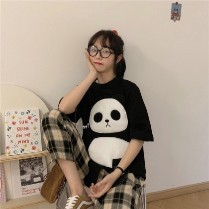 Baju Cotton Viral 3D Panda Loose Shirt 3D Panda Design Top Cute Shirt Cartoon Shirt Baju Kartun Panda Baju Comel 立体熊猫上衣 Ready Stock 321110