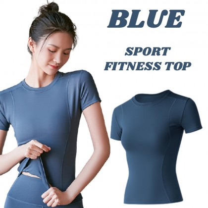 VIRENE Women Yoga Shirt Fitness Sports Slim Clothes Mesh Sportswear Gym Tops T-Shirt for Ladies Quick Dry Short Sleeve Zumba Shirt 瑜伽上衣 Ready Stock 322001
