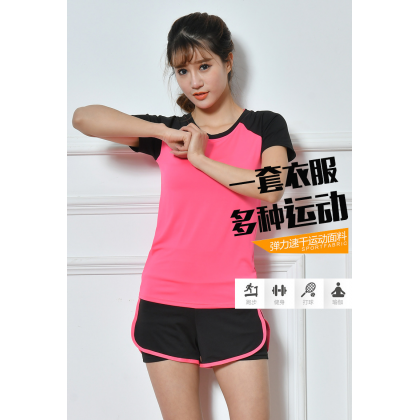 VIRENE Women Yoga Sportswear 2 Pcs Suit (T-shirt & Shorts) Sport Sets Jogging Gym Fitness Zumba Suit Ready Stock 583401