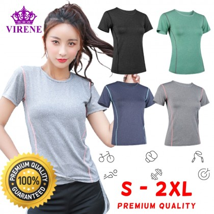 VIRENE Yoga Shirt Fitness Sports Slim Clothes Mesh Sportswear Gym Tops T Shirt for Women Ready Stock 261601