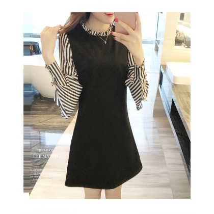 Virene Women Slim Midi Dress Korean Fashion Long Sleeve OL Dress Stylish Stripe Office Wear Apparel Ready Stock 301701