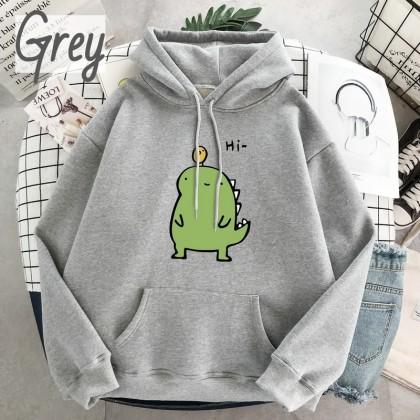 VIRENE Little Dinosaur Men Hoodies Plus Size Hooded Shirt Casual Hoodie Sweatshirt Loose Outerwear Jacket Couple Wear Baju Viral Ready Stock 302000