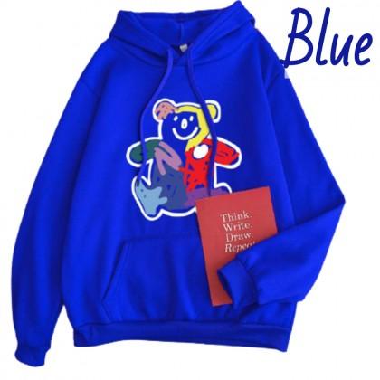 VIRENE Women Hoodies Chic Graffiti Bear Plus Size Hooded Shirt Casual Hoodie Sweatshirt Loose Outerwear Jacket Couple Wear Baju Viral Ready Stock 302022