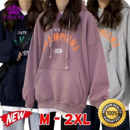 VIRENE Korean Fashion Women Hoodies Men Hooded Shirt Simple Casual Style Sweater Long Sleeve Shirt Loose Outerwear Jacket Couple Wear Baju Viral Ready Stock 322111