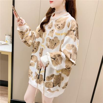 VIRENE Korean Fashion Bear Design Long Sleeve Shirt Women Sweater Casual Woman Top Lovely Cute Women Blouse Ready Stock 281777