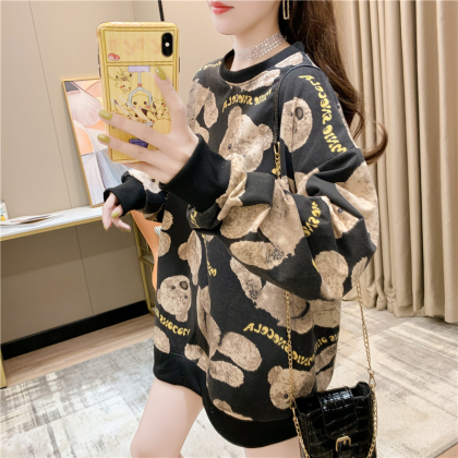 VIRENE Korean Fashion Bear Design Long Sleeve Shirt Women Sweater Casual Woman Top Lovely Cute Women Blouse Ready Stock 281777