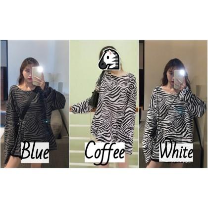 VIRENE Korean Fashion Plus Size Women Long Sleeve Shirt Zebra Design Sweater Woman Casual Top Loose Female Clothing Baju Viral Ready Stock 221300